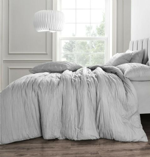 Crinkle Duvet Cover And Pillowcase Texture Stripe Bedding Set Silver Grey
